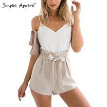 Simplee vêtements été 2016 blanc élégant combinaison barboteuse femmes arc une pièce casual salopette Sexy backless courtes salopette filles(China (Mainland))