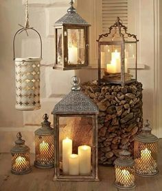 Love this collection of candles and lanterns!
