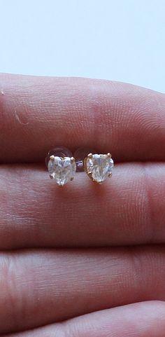 Sterling Silver Heart CZ Earrings Gold by onetime on Etsy, $4.25