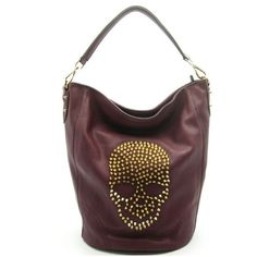 Christina Studded Skull Bag in Burgundy ($64) ❤ liked on Polyvore