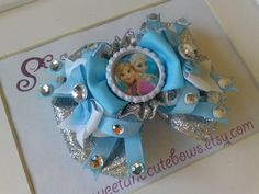 Frozen Snowflake Hair Bow by SweetandCuteBows on Etsy, $13.50