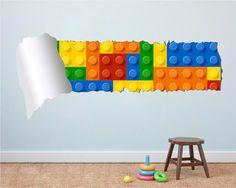 Rasgado de bloques en la pared - pared de ladrillos sobre ladrillos de la pared - etiqueta engomada de la pared agrietada - pegatinas de calcomanías - Stickers infantiles - niños