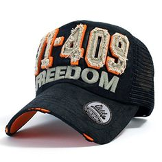 nice ililily 71-409 Freedom Logo Patched Distressed Vintage Baseball Cap with…