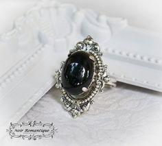 Silver ornate gothic ring-Victorian gothic ring-Onyx