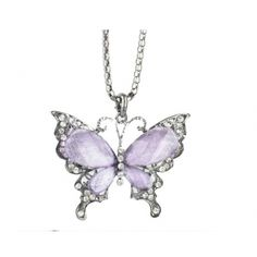 Butterfly Rhinestone Embellished Necklace Purple