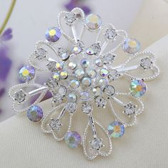 Exquisite Silver Rhinestone High-Quality Flower Wedding Party Brooch[US$1.85]