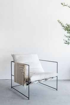 """36""""W + 36""""D + 30""""H INDUSTRIAL STEEL + DOWN + COTTON BLEND POLY FINISH //CUSTOMIZE THIS PIECE This Chair is Custom Made in Los Angeles. The steel frame is cut and welded. Straps are cut to size and joi"""
