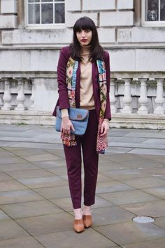 FF fave blogger TwoShoesOnePair went for 70's inspired suits at Day 1 of LFW #LFW15