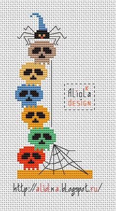 My tvorilki: Skulls, spiders and pumpkins! free cross stitch chart!