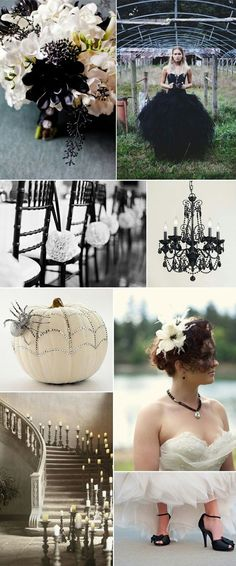 A Halloween wedding sounds pretty cool! All Hallow's Eve - Black and White Wedding Inspiration, beautiful! have a Halloween wedding at the Texas Renaissance Festival! October Wedding, Fall Wedding, Dream Wedding, Wedding Themes, Wedding Colors, Wedding Ideas, Wedding Stuff, Wedding Venues, Wedding Locations