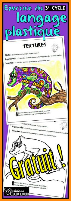 Il me fait plaisir de vous offrir cet exercice du langage plastique pour le 3e cycle.Travailler les textures représentées et réelles en complétant le caméléon. Consignes simples et faciles à suivre. Cet exercice fait partie d'un ensemble de 14 exercices visant à travailler la totalité des notions à voir au troisième cycle du primaire en arts plastiques. Middle School Art, Art School, Art Lessons For Kids, Art For Kids, Cameleon Art, Ecole Art, Elements Of Art, Art Lesson Plans, Art Classroom