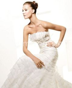 Over Layered Organza Strapless Wedding Dress Mermaid Chapel Trai