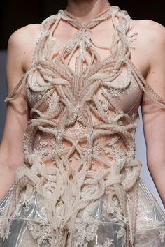 Complex Symmetry - closeup bodice detail with intricate textured patterns; fashion meets alien life form... // Yiqing Yin