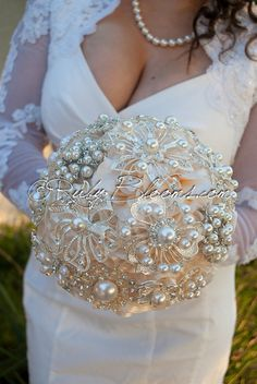 """VICTORIAN PEARLS"" IVORY WEDDING BROOCH BOUQUET Premiere Collection - Pearl Ivory Wedding Brooch Bouquet Designed for Ivory Weddings, Bridal Flowers and Special Events!"