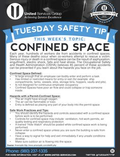 This week's Tuesday Safety Tip is about Confined Space.. United Services is dedicated to making safety information available to our employees and customers to further emphasize our safety culture. The credit for this week's safety information was provided by AmeriSafe (http://www.amerisafe.com/).