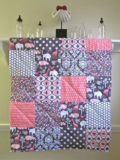 Baby Girl Quilt Pink Zoology Pink Gray by FernLeslieBaby