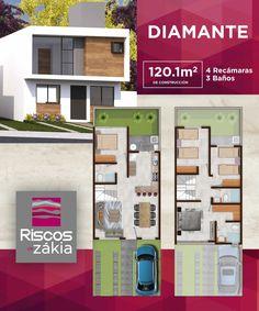 Preciosa Casa en Condominio Queretaro House Plans 3 Bedroom, Duplex House Plans, Dream House Plans, Modern House Plans, Small House Plans, House Floor Plans, Moraira, Villa, Narrow House