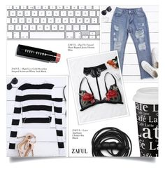 """""""RIPPED JEANS"""" by larissa-takahassi ❤ liked on Polyvore featuring Könitz, Bobbi Brown Cosmetics and Urbanears"""