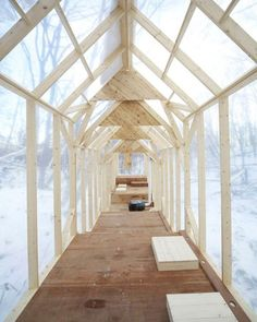 Suspended above the peaceful hills of Sapporo, Japan is Hidemi Nishida's Fragile Shelter, a lengthy wooden structure that serves as a temporary shelter and gathering space. Users vary from travelers seeking brief refuge to local students stopping by for lunch or a party. Small quarters make the space inherently intimate, cozy, and empathetic, ideal for smaller occasions. #architecture #design #interiors #interiordesign #winter... - Interior Design Ideas, Interior Decor and Designs, Home…