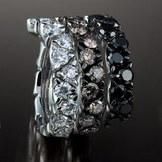 Garavelli white, cognac and black diamond right hand ring from Coil Collection