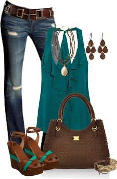 teal and brown outfit