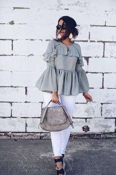 Subtle Green By Fashionably Kay Diva Fashion, Grey Fashion, Spring Fashion, Winter Fashion, Womens Fashion, Fashion Trends, Fashion Bloggers, Bell Sleeve Top Outfit, Business Casual
