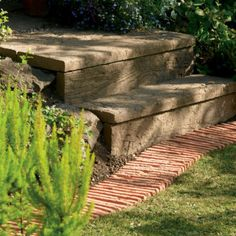 Beautifully realistic, Bradstone Stonewood Log Sleepers can be used to create unusual paving, attractive border edges and step treads and risers. For an unusual retaining edge to a shrubbery, lay them vertically, staggering the heights for extra effect. Bradstone Paving, Paving Edging, Limestone Paving, Granite Paving, Stone Edging, Concrete Paving, Concrete Stone, Garden Edging, Step Treads