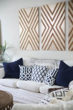 DIY wall art - make these three huge pieces (20x40) for less than $40.