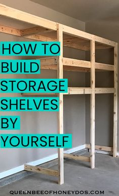 How to build garage storage shelves by yourself! This is the easiest way to cons. - How to build garage storage shelves by yourself! This is the easiest way to construct a one-man-job - How to build garage storage shelves by Garage Workshop Organization, Workshop Storage, Workshop Design, Workshop Shelving, Organization Ideas, Diy Storage Shelves, Garage Ideas Storage, Garage Decorating Ideas, Shelving Ideas