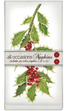 "Botanical Holly Boughs - Set of 6 Cotton Holiday Christmas Napkins - 20"" x 20"""