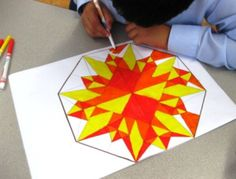 Kids learn to create geometric art designs. They learn about shapes and patterns. This is also a great lesson to use to explain symmetry.