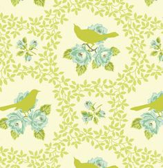 Fabric... Up Parasol birds in Green by Heather Bailey for FreeSpirit Fabrics