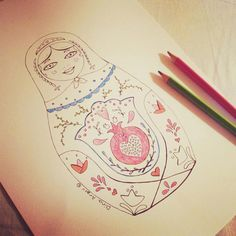 15 Matryoshka coloring pages PDF download by DachaStudio on Etsy