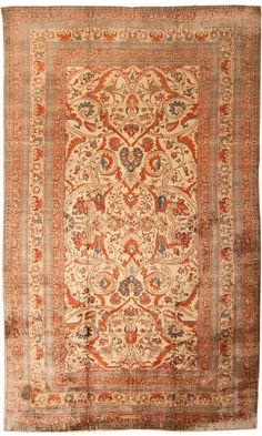 antique Persian Silk Heriz