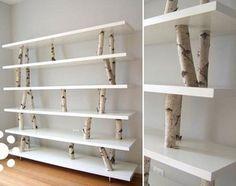 Birch trunks in a shelf