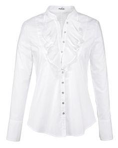 Bluse mit Rüschen (weiß) von Van Laack - Blusen - Bekleidung - Damenmode Online Shop - Frankonia.de