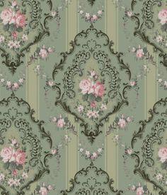 Really beautiful wallpaper! Pink and green vintage wallpaper Decoupage Vintage, Decoupage Paper, Vintage Paper, Vintage Pink, Victorian Dolls, Victorian Dollhouse, Victorian Art, Miniature Dollhouse, Victorian Wallpaper
