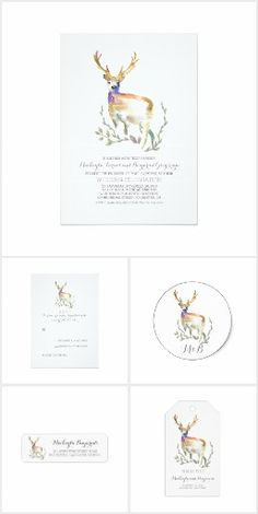 Deer Wedding Invitation Collection - Watercolor Painted   Woodland, Forest Nature Outdoor Wildlife Wedding