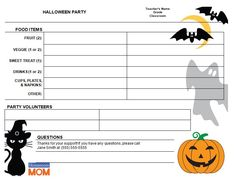 A sample class party sign-up sheet that I made. | Cool things to ...