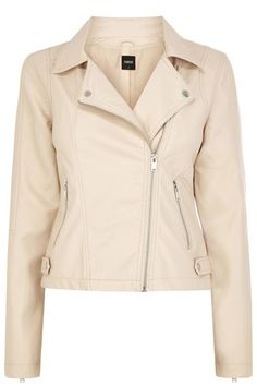 This stylish faux leather biker jacket features an asymmetric zip fastening on the front. The piece is finished with double zip pockets on the waist, zip cuffs and metallic trimmings across the body. Vegan Leather Jacket, Faux Leather Jackets, Spring Jackets, Trendy Clothes For Women, Fashion Outfits, Women's Fashion, Pink Motorcycle, Motorcycle Jacket, Biker