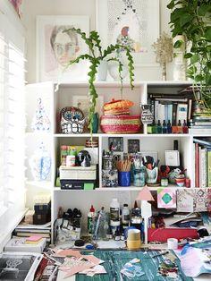 Miranda Scockzec's tiny study nook at home.