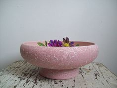 Mid Century planter round footed planter by CrookedJoesAntiques, $23.99