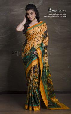 Digital Printed Tussar Silk Saree in Orange and Green Tussar Silk Saree, Silk Sarees Online, South India, Mulberry Silk, Bengal, Different Styles, Digital Prints, Sari, Printed