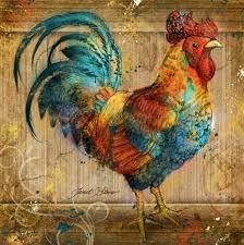 Americana art, Americana paintings, Country Americana art by Janet Stever. Cockatiel, Decoupage, Great Artists, Birds, Roosters, Hens, Paintings, Animals, Country
