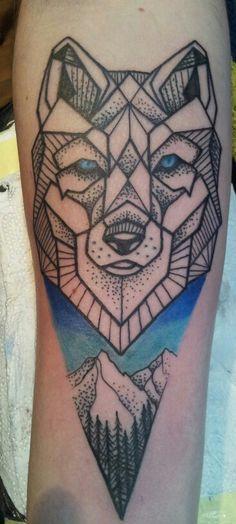 Wolf geometric tattoo