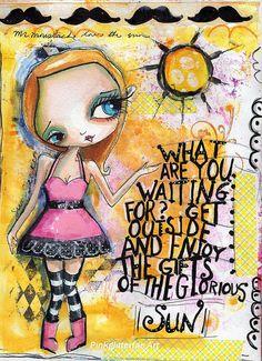 She who loves the sun   Flickr - Photo Sharing!  Art journal mixed media art