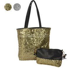 Women's Fashion Concise Bucket Bag Gold/Silvery Paillette Shoulder bag Handbag