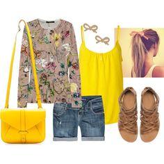 """Bright yellow & Shorts"" by tara-nitti on Polyvore"