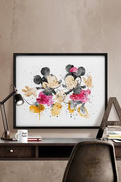 Original hand paint Mickey & Minnie watercolor reproduction, Disney watercolor painting, Mickey Minnie watercolor painting, kids decor, gift