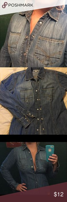 Denim shirt Love this thick denim shirt. Has great shape. It's in great condition and have worn it in gently. Paul & Joe Tops Button Down Shirts